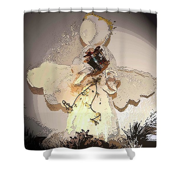 Angel With Drum Shower Curtain