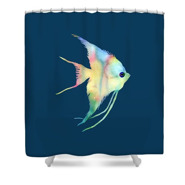Angelfish I - Solid Background Shower Curtain