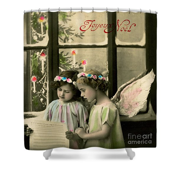 Angelic Girls, French Christmas Card Shower Curtain