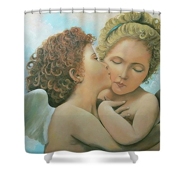 Shower Curtain featuring the painting Bouguereau Angels- My Adaptation by Rosario Piazza