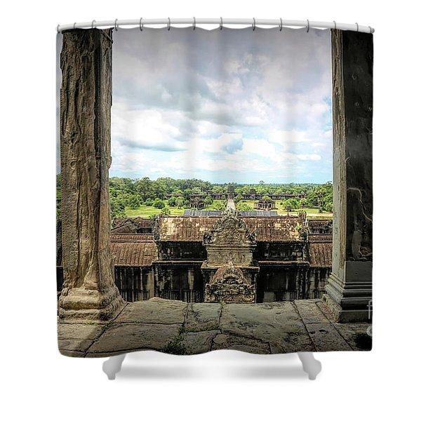 Angkor Courtyard Cambodia  Shower Curtain