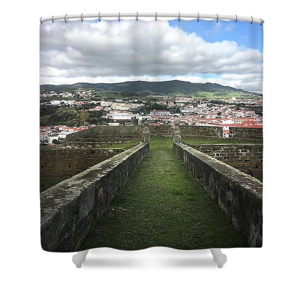 Angra Do Heroismo From The Fortress Of Sao Joao Baptista Shower Curtain