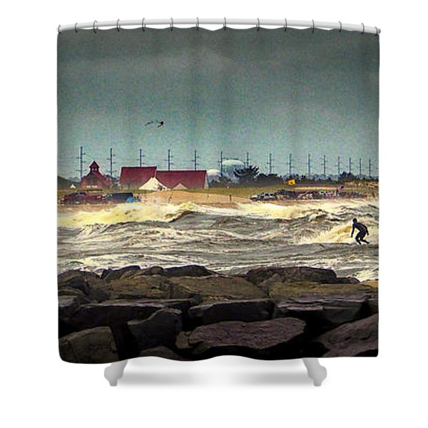 Angry Surf At Indian River Inlet Shower Curtain