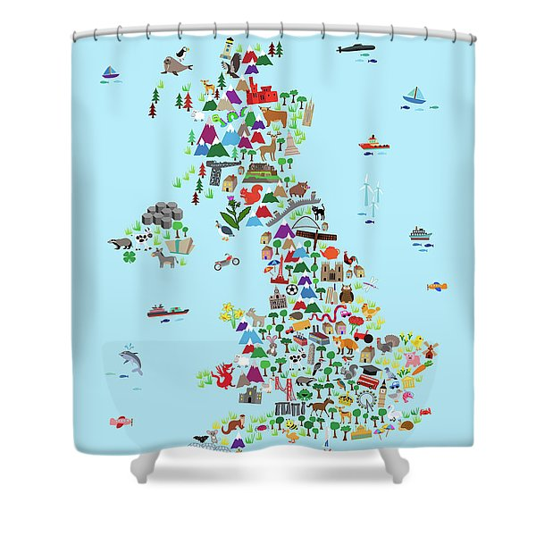 Animal Map Of Great Britain And Ni For Children And Kids Shower Curtain