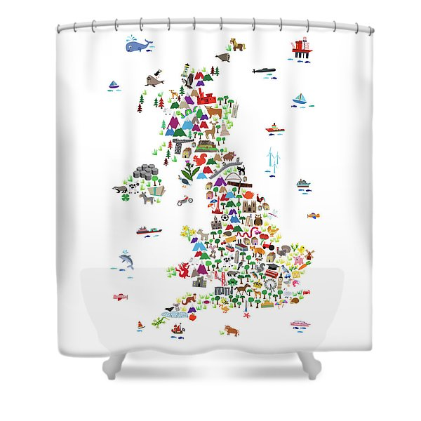 Animal Map Of Great Britain For Children And Kids Shower Curtain
