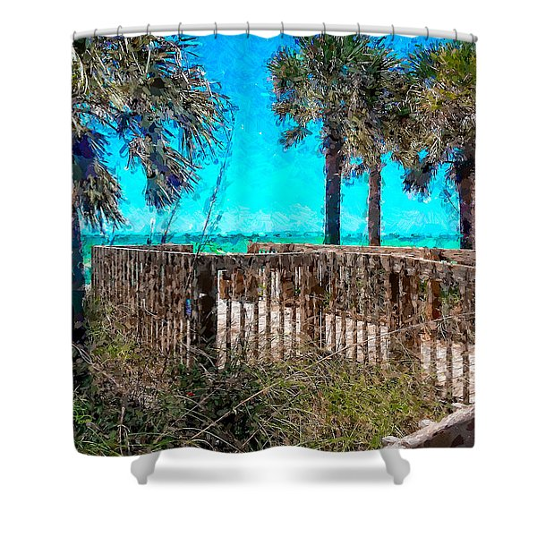 Anna Maria Boardwalk Access Shower Curtain