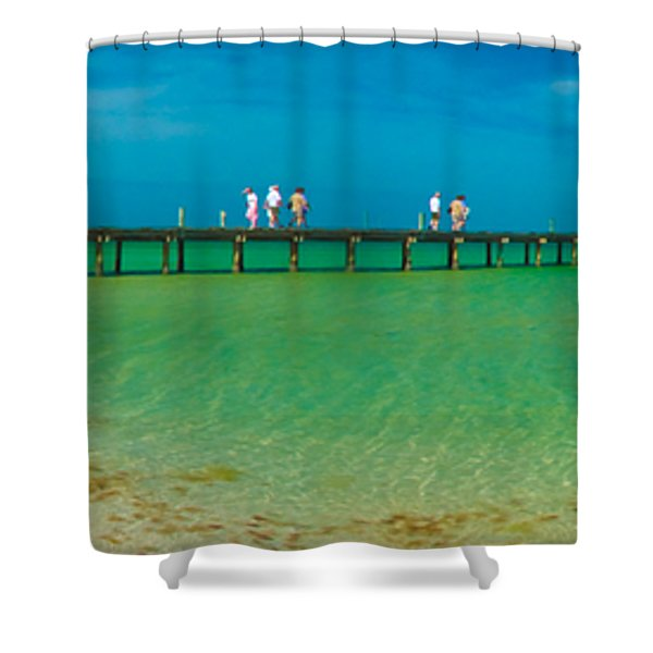 Anna Maria Island Historic City Pier Panorama Shower Curtain
