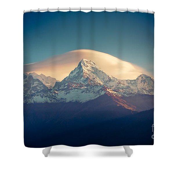 Shower Curtain featuring the photograph Annapurna Sunrise Himalayas Mountain Artmif by Raimond Klavins