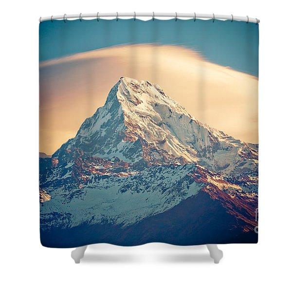Shower Curtain featuring the photograph Annapurna Sunrise Himalayas Mountains by Raimond Klavins