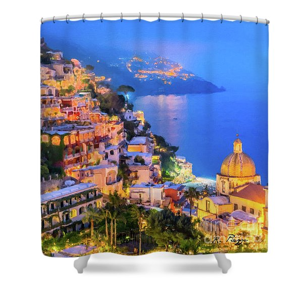 Shower Curtain featuring the digital art Another Glowing Evening In Positano by Rosario Piazza