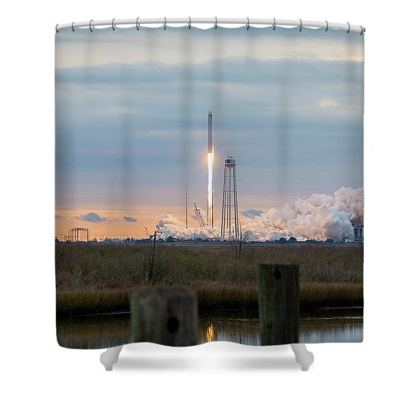Antares Launch From Wallops Island Shower Curtain