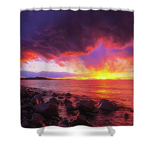 Antelope Island Sunset Shower Curtain
