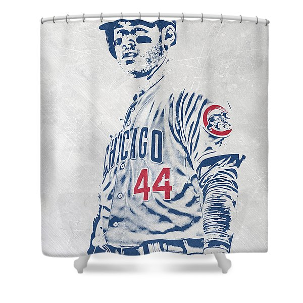 Anthony Rizzo Chicago Cubs Pixel Art Shower Curtain