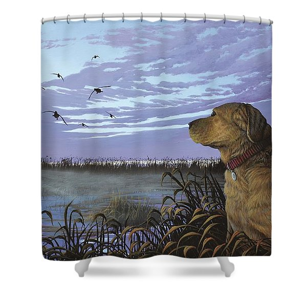 On Watch - Yellow Lab Shower Curtain