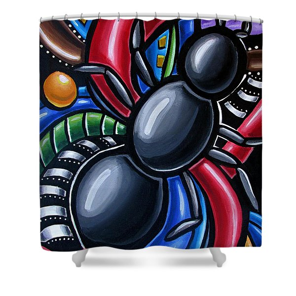 Ant Art Painting Colorful Abstract Artwork - Chromatic Acrylic Painting Shower Curtain