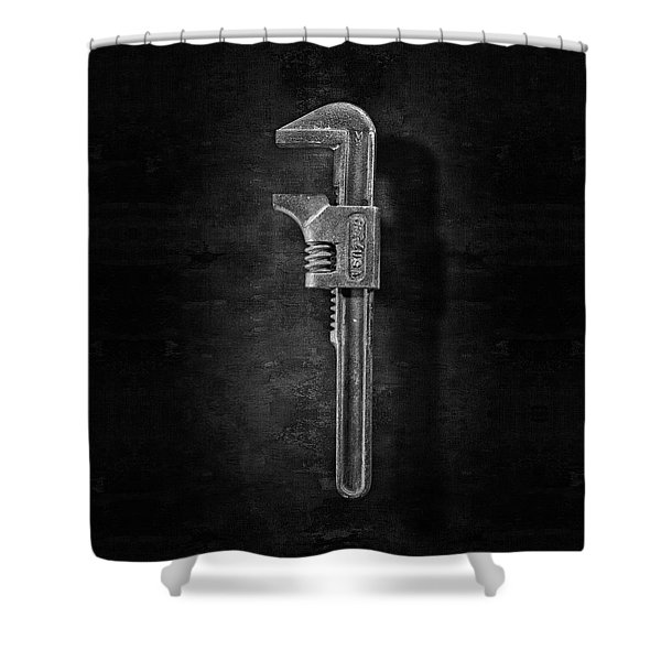 Antique Adjustable Wrench Front In Bw Shower Curtain