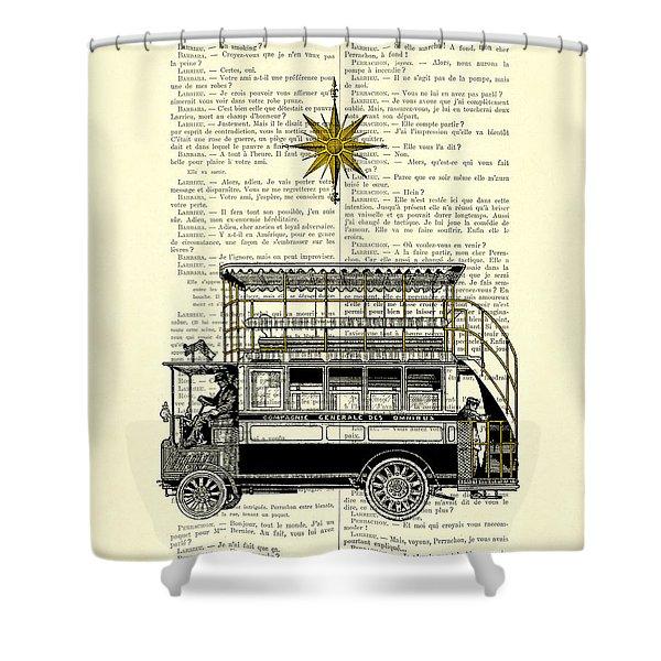 Double-decker Bus Vintage Illustration Dictioanry Art Shower Curtain