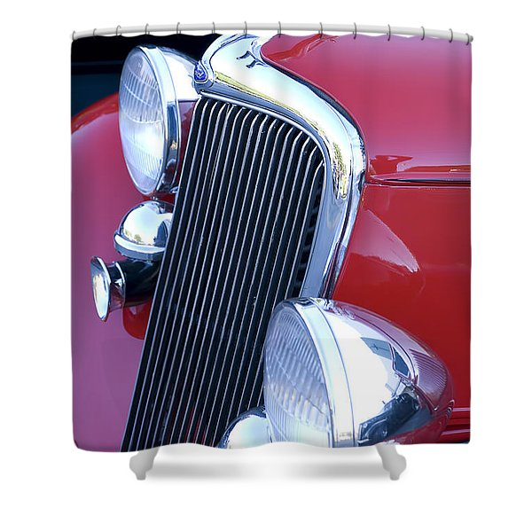 Antique Car Hood Ornament Shower Curtain