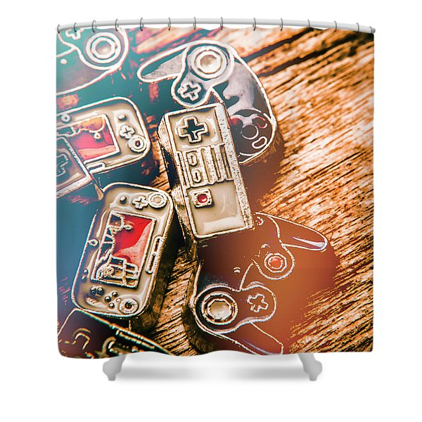 Antique Gaming Consoles Shower Curtain