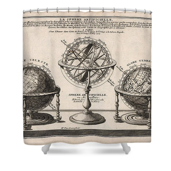 Antique Illustration Of The Globe - Sphere Artificielle - Terrestrial Globe - Celestial Globe Shower Curtain