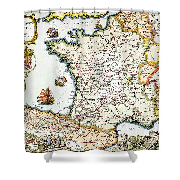 Antique Map Of France Shower Curtain