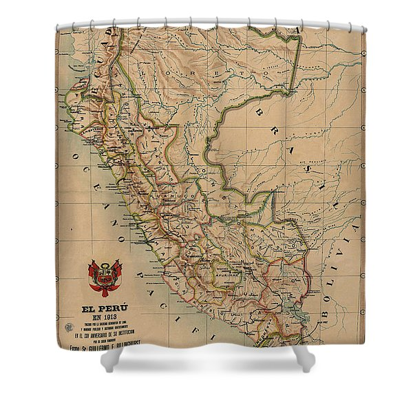 Antique Maps - Old Cartographic Maps - Antique Map Of Peru, South America, 1913 Shower Curtain