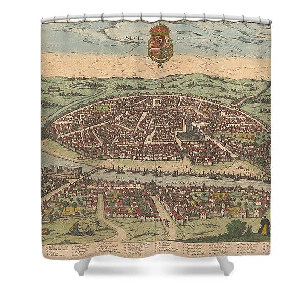 Antique Maps - Old Cartographic Maps - Antique Map Of Seville - Sevilla, Spain, 1590 Shower Curtain
