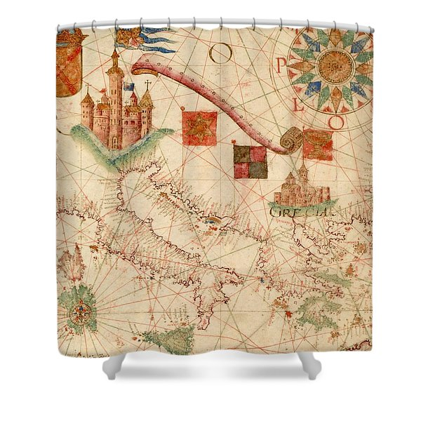 Antique Maps - Old Cartographic Maps - Antique Map Of The Mediterranean Area - Italy, Greece Shower Curtain