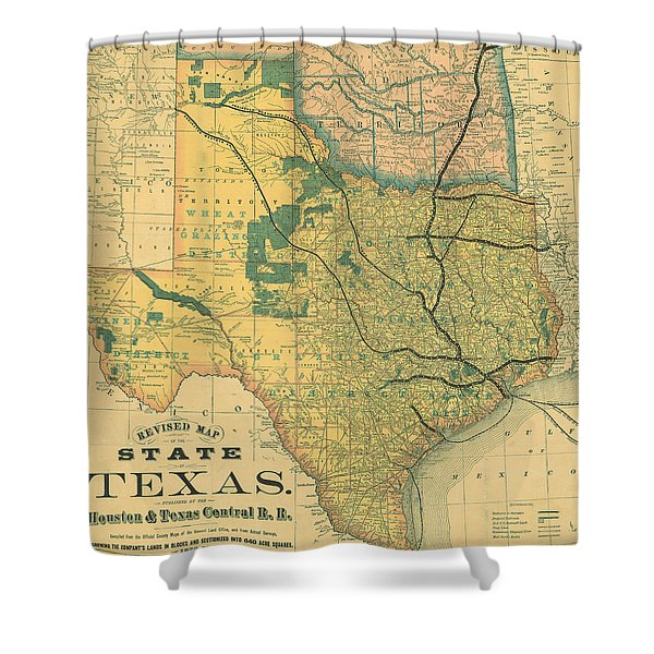 Map Of Texas Shower Curtains   Fine Art America Antique Maps Houston on