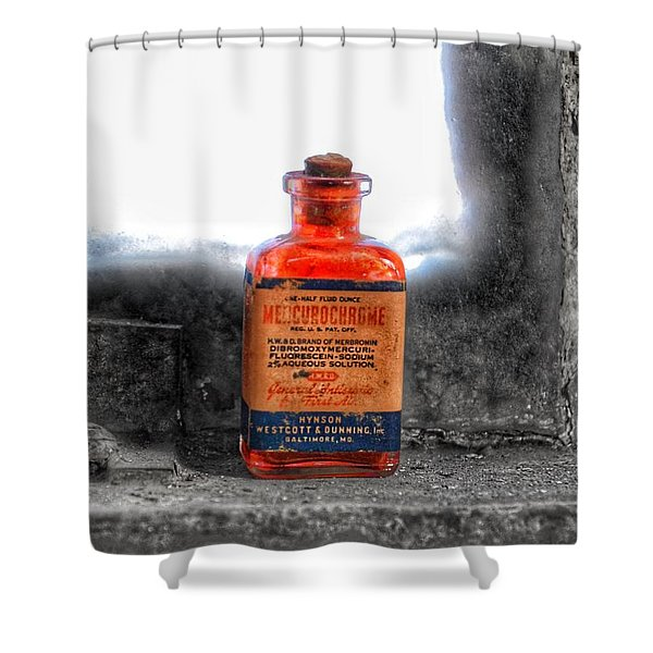 Antique Mercurochrome Hynson Westcott And Dunning Inc. Medicine Bottle - Maryland Glass Corporation Shower Curtain
