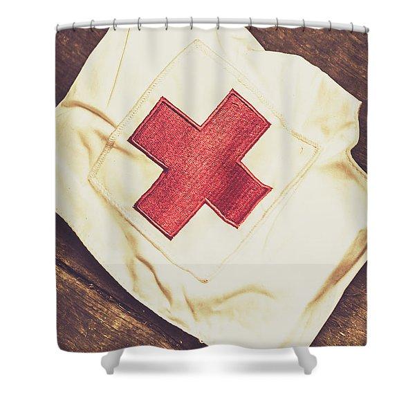 Antique Nurses Hat With Red Cross Emblem Shower Curtain