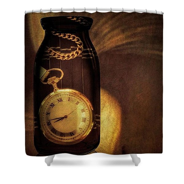 Antique Pocket Watch In A Bottle Shower Curtain