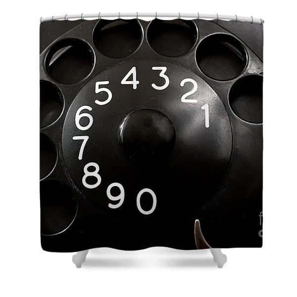 Shower Curtain featuring the photograph Antique Telephone Dial by Gunter Nezhoda