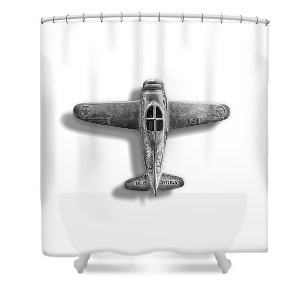 Antique Toy Airplane Floating On White In Black And White Shower Curtain