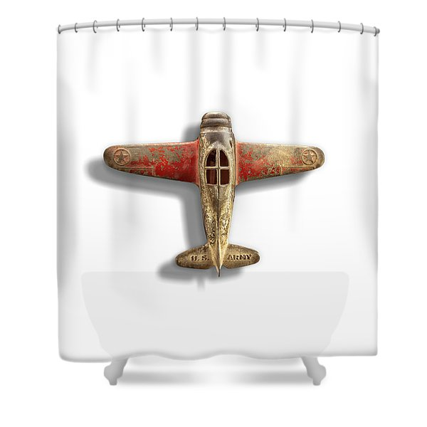 Antique Toy Airplane Floating On White Shower Curtain
