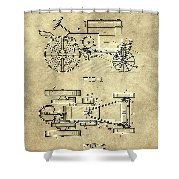 Antique Tractor Blueprint Patent Drawing Plan From 1929, Industrial Farmhouse Shower Curtain