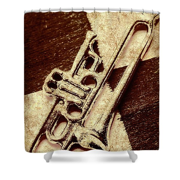 Antique Trumpet Club Shower Curtain
