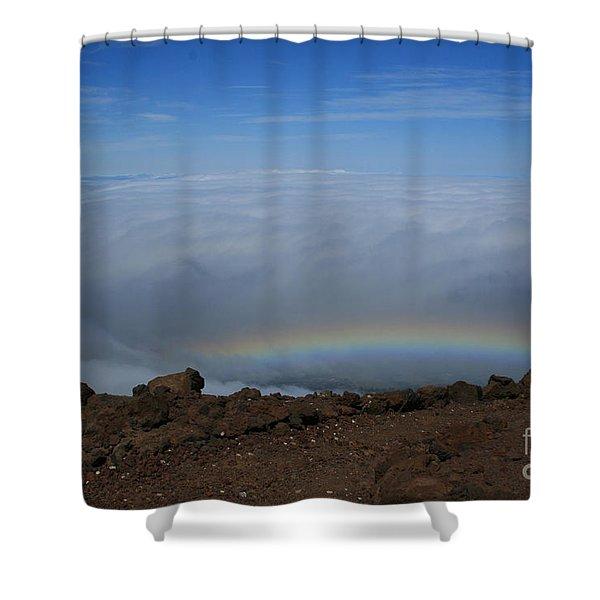 Anuenue - Rainbow At The Ahinahina Ahu Haleakala Sunrise Maui Hawaii Shower Curtain
