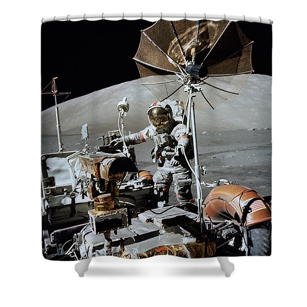 Apollo 17 Astronaut Approaches Shower Curtain