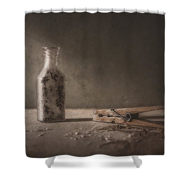 Apothecary Bottle And Clothes Pin Shower Curtain