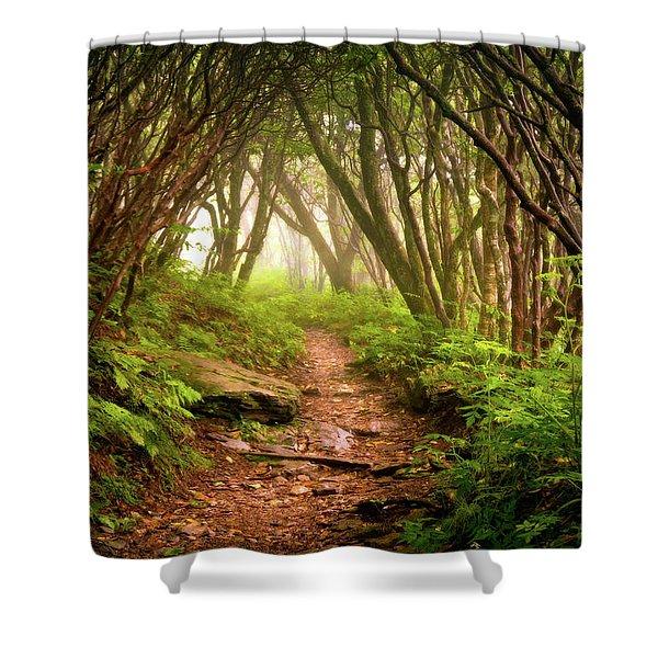 Appalachian Hiking Trail - Blue Ridge Mountains Forest Fog Nature Landscape Shower Curtain