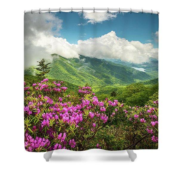 Appalachian Mountains Spring Flowers Scenic Landscape Asheville North Carolina Blue Ridge Parkway Shower Curtain