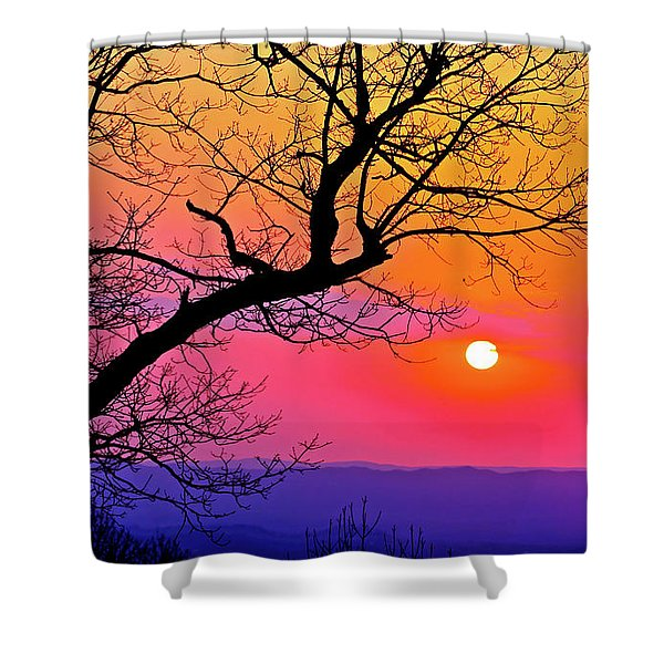 Appalcahian Sunset Tree Silhouette  #1 Shower Curtain