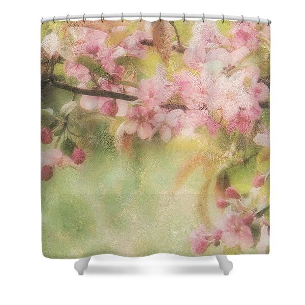 Apple Blossom Frost Shower Curtain