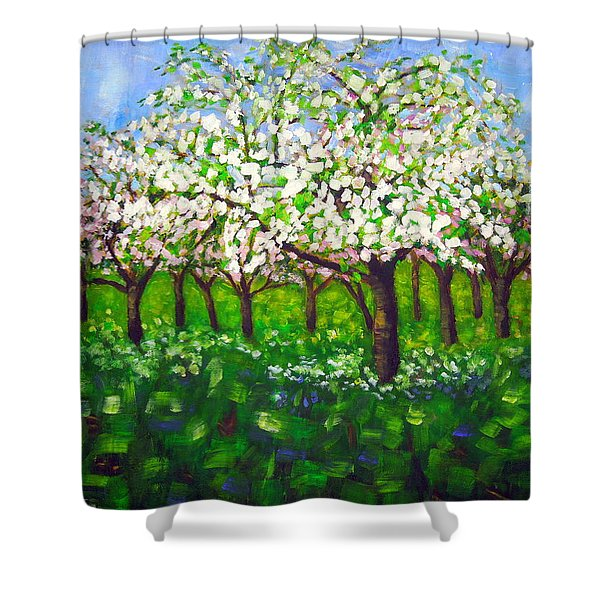 Apple Blossom Orchard Shower Curtain