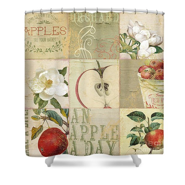 Apple Blossoms Patchwork I Shower Curtain