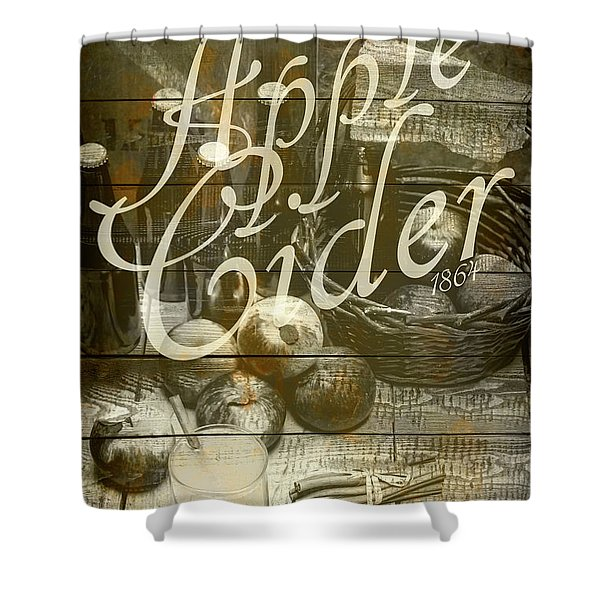 Apple Cider Sign Printed On Rustic Wood Planks Shower Curtain