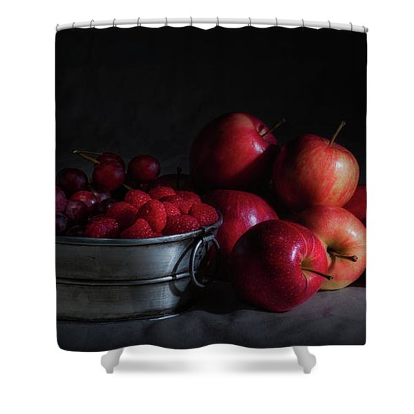 Apples And Berries Panoramic Shower Curtain