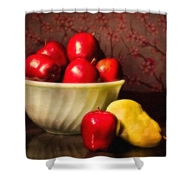 Apples In Bowl With Pear Shower Curtain