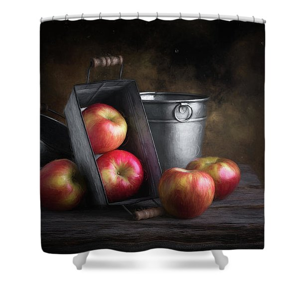 Apples With Metalware Shower Curtain